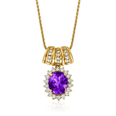 C. 1980 Vintage 4.75 Carat Amethyst and 1.15 ct. t.w. Diamond Pendant Necklace in 18kt Yellow Gold