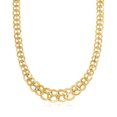 Italian 14kt Yellow Gold Interlocking Link Necklace, , default