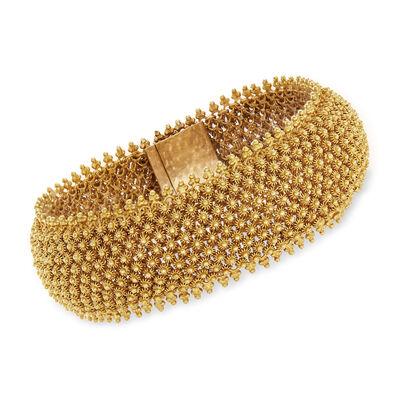 C. 1970 Vintage 14kt Yellow Gold Beaded Mesh Bracelet, , default