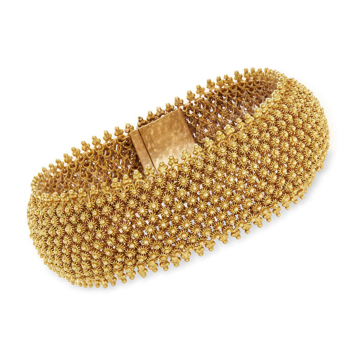 "C. 1970 Vintage 14kt Yellow Gold Beaded Mesh Bracelet. 7.5"""
