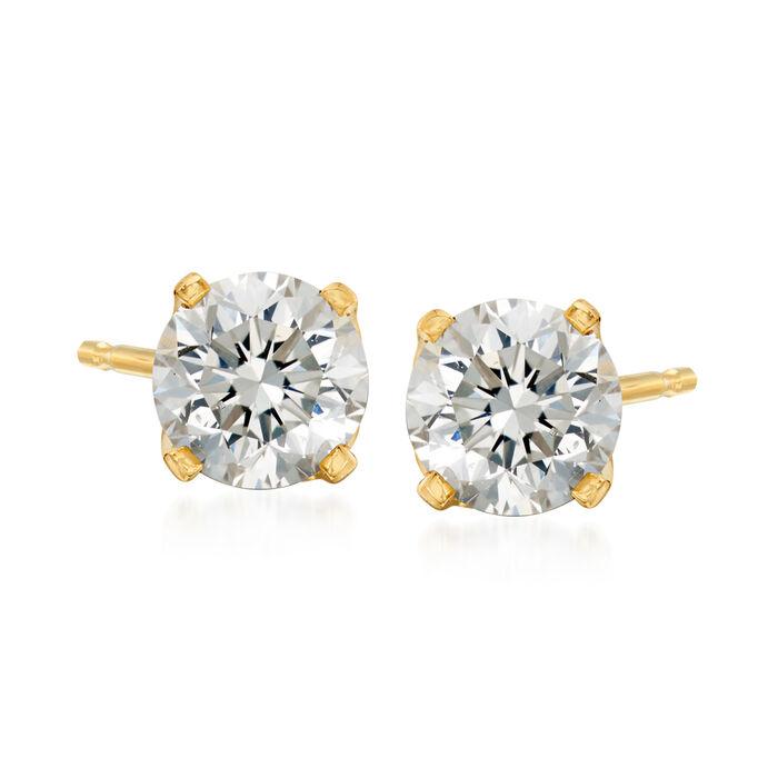 C. 1990 Vintage 1.00 ct. t.w. Diamond Stud Earrings in 14kt Yellow Gold, , default