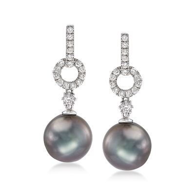 11-12mm Black Cultured Tahitian Pearl and .42 ct. t.w. Diamond Drop Earrings in 18kt White Gold