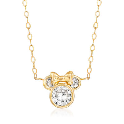 Child's Disney .80 ct. t.w. CZ Minnie Mouse Necklace in 14kt Yellow Gold, , default