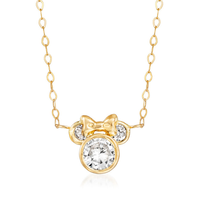 "Child's Disney .80 ct. t.w. CZ Minnie Mouse Necklace in 14kt Yellow Gold. 15"", , default"