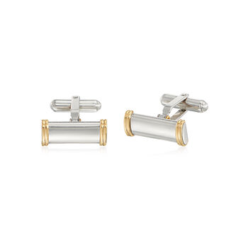 C. 1980 Vintage Sterling Silver and 14kt Yellow Gold Cuff Links and Button Cover Set, , default