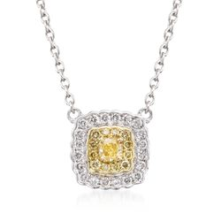 "Gregg Ruth .28 ct. t.w. Yellow and White Diamond Pendant Necklace in 18kt Two-Tone Gold. 16"", , default"