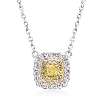 """Gregg Ruth .28 ct. t.w. Yellow and White Diamond Pendant Necklace in 18kt Two-Tone Gold. 16"""", , default"""
