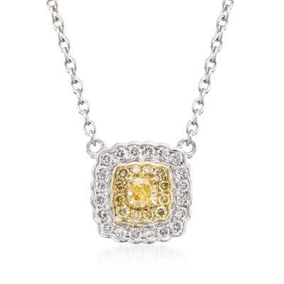 Gregg Ruth .28 ct. t.w. Yellow and White Diamond Pendant Necklace in 18kt Two-Tone Gold, , default