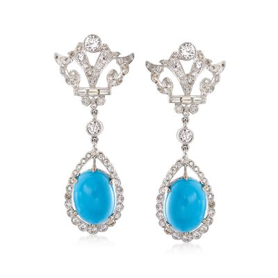 C. 1990 Vintage Turquoise and 1.80 ct. t.w. Diamond Drop Earrings in 18kt White Gold, , default