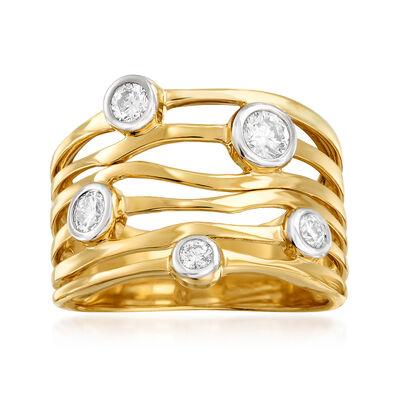 .50 ct. t.w. Bezel-Set Diamond Highway Ring in 14kt Yellow Gold