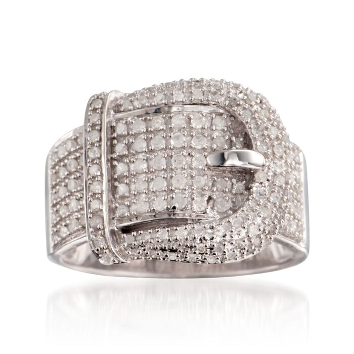 .70 ct. t.w. Diamond Buckle Ring in Sterling Silver