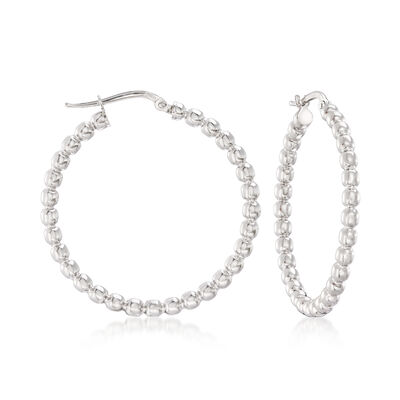 Italian Sterling Silver Beaded Hoop Earrings, , default