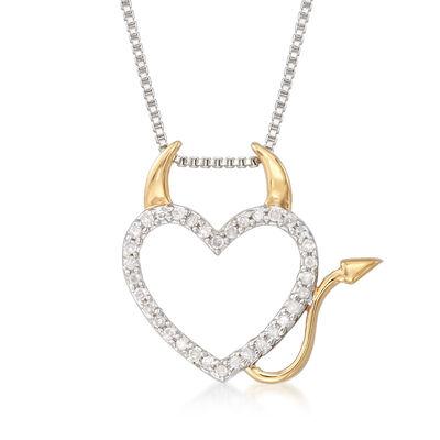 .10 ct. t.w. Diamond Devil Heart Pendant Necklace in Two-Tone Sterling Silver, , default
