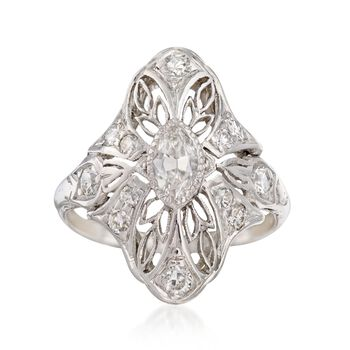 C. 1920 Vintage .58 ct. t.w. Diamond Navette Ring in Platinum. Size 3.5, , default