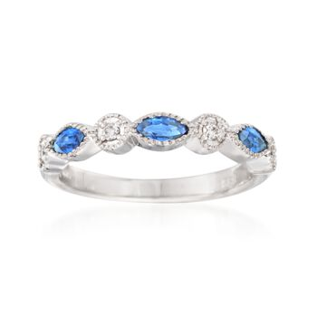 .45 ct. t.w. Sapphire Ring With Diamond Accents  in 14kt White Gold, , default