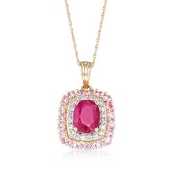 "1.50 Carat Ruby and .70 ct. t.w. Pink Sapphire Pendant Necklace With .20 ct. t.w. Diamonds in 14kt Yellow Gold. 18"", , default"
