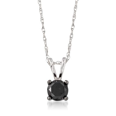 1.00 Carat Black Diamond Solitaire Necklace in 14kt White Gold, , default