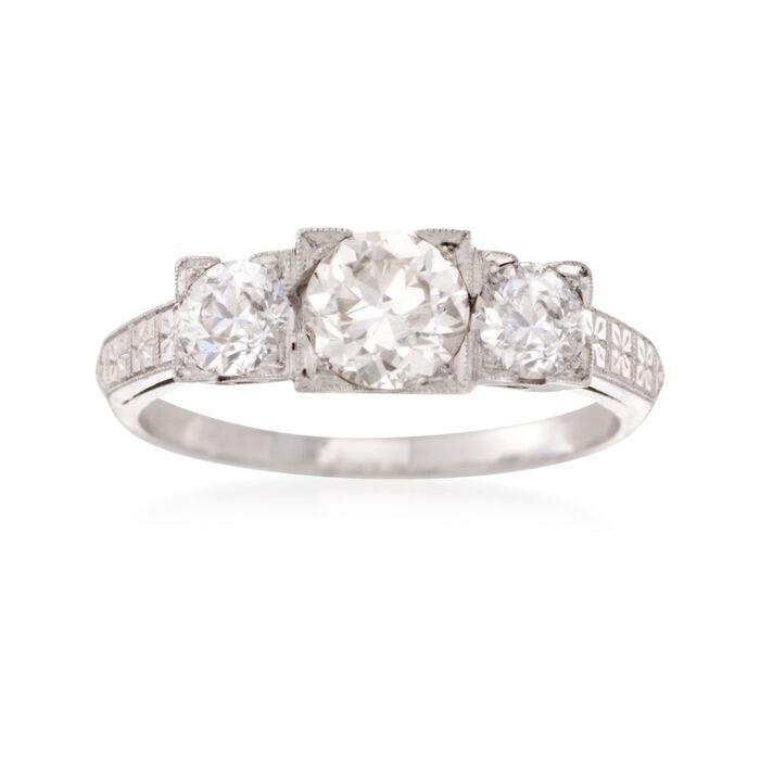 C. 1960 Vintage 1.40 ct. t.w. Diamond Three-Stone Engagement Ring in Platinum. Size 7.5