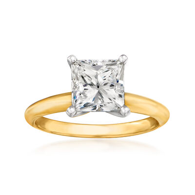 2.07 Carat Certified Diamond Solitaire Engagement Ring in 14kt Yellow Gold