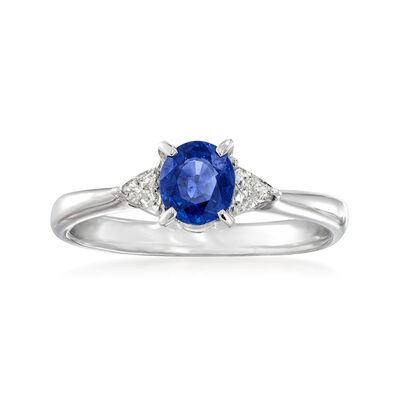 C. 1990 Vintage .59 Carat Sapphire and .13 ct. t.w. Diamond Ring in Platinum