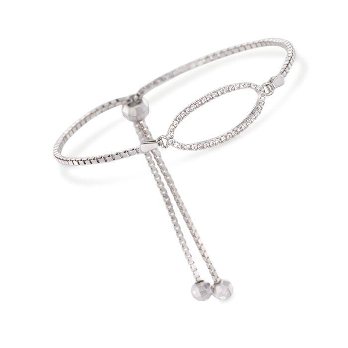 .20 ct. t.w. CZ Oval Bolo Bracelet in Sterling Silver, , default