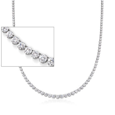 20.00 ct. t.w. Graduated CZ Tennis Necklace in Sterling Silver