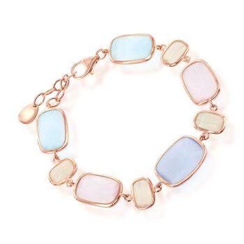 """Multicolored Glass Bracelet in 18kt Rose Gold Over Sterling. 7"""", , default"""