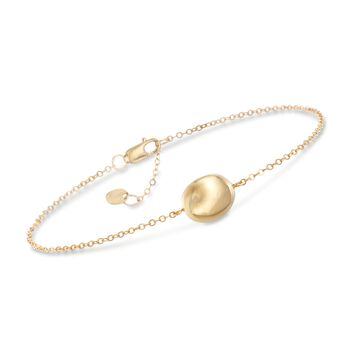 "14kt Yellow Gold Single Bead Bracelet. 7"", , default"