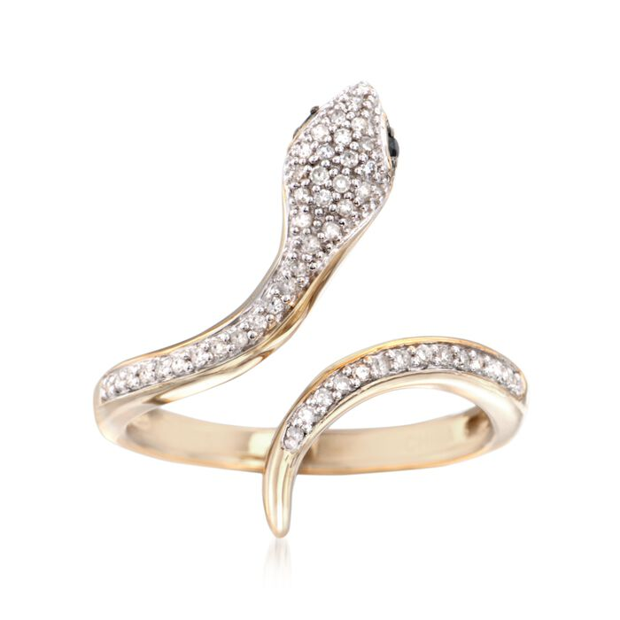 .15 ct. t.w. Diamond Serpent Ring with Black Spinel in 18kt Gold Over Sterling, , default