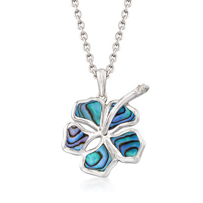 Abalone Shell Hibiscus Pendant Necklace in Sterling Silver, , default
