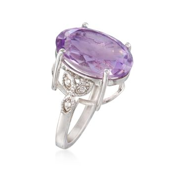 10.00 Carat Pink Amethyst Ring With White Topaz Accents in Sterling Silver, , default
