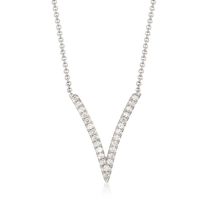 Gabriel Designs .29 ct. t.w. Diamond Deep V-Necklace in 14kt White Gold