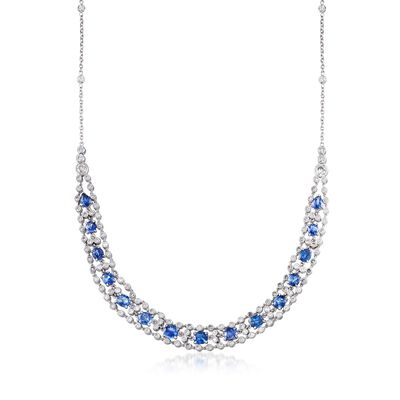 C. 1980 Vintage 9.30 ct. t.w. Sapphire and 3.75 ct. t.w. Diamond Necklace in 18kt White Gold, , default