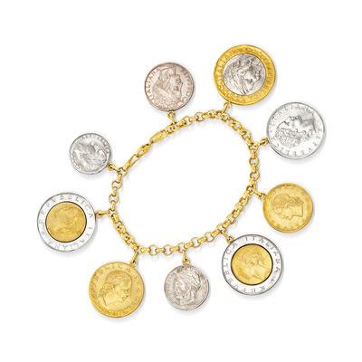 C. 2015 Vintage 14kt Yellow Gold Lira Coin Bracelet