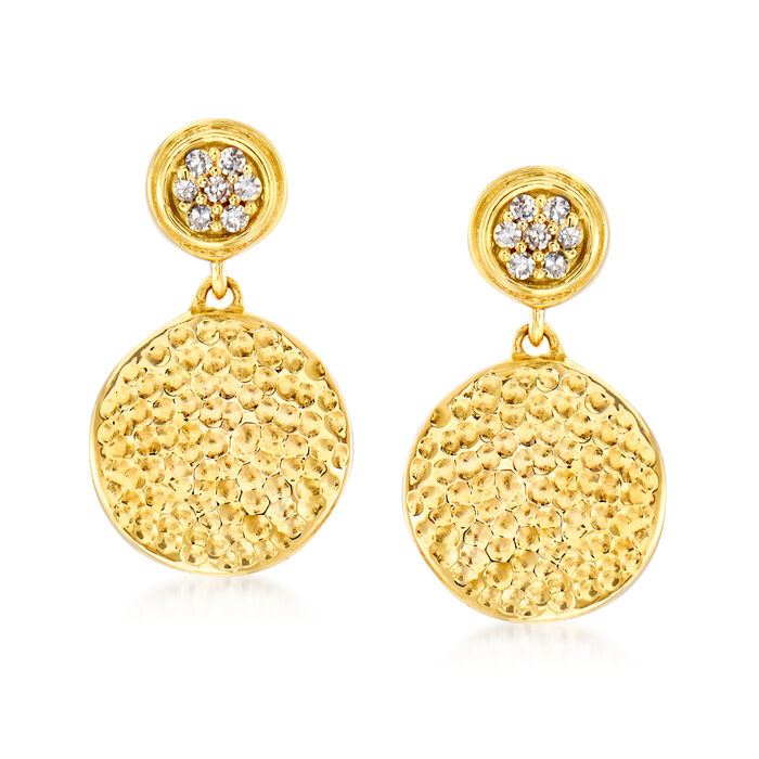 14kt Yellow Gold Hammered Disc Drop Earrings with Diamond Accents
