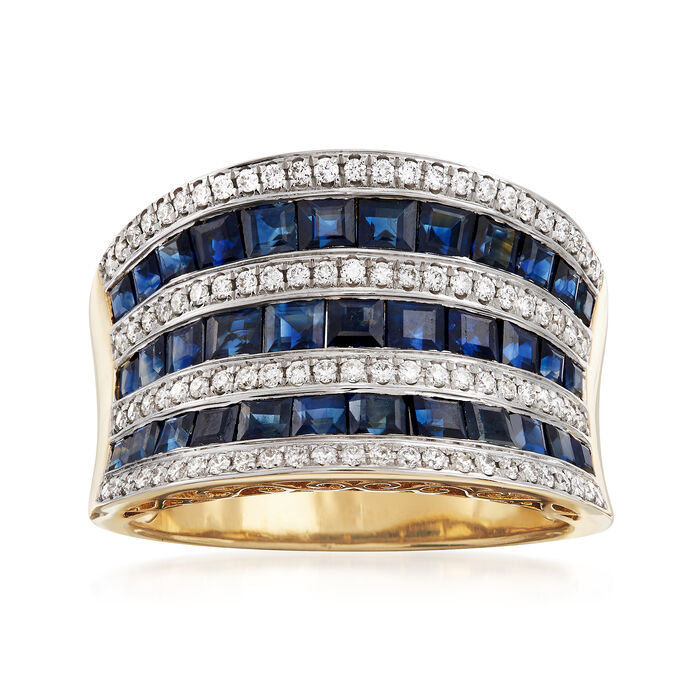 2.75 ct. t.w. Sapphire and .34 ct. t.w. Diamond Ring in 18kt Yellow Gold, , default