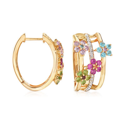 1.30 ct. t.w. Multi-Gemstone Flower Hoop Earrings with Citrine Accents in 18kt Gold Over Sterling