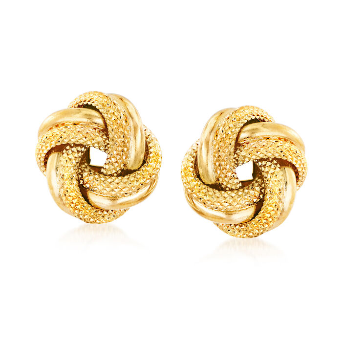 Italian 18kt Yellow Gold Love Knot Stud Earrings