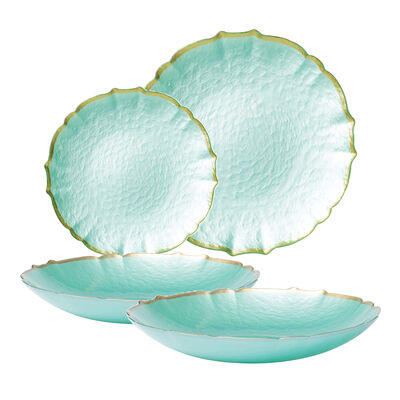 "Vietri ""Baroque"" Aqua Glass Dinnerware"