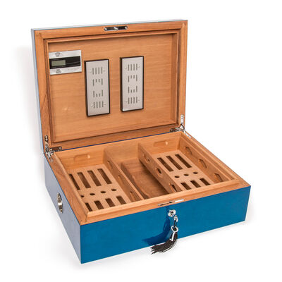 "Brouk & Co. ""Donovan"" Large Wooden Blue Cigar Humidor Box"