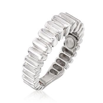 Italian 18kt White Gold Ribbed Ring, , default