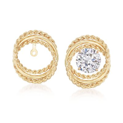 14kt Yellow Gold Twisted Circle Earring Jackets, , default