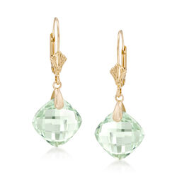9.75 ct. t.w. Green Amethyst Earrings in 14kt Yellow Gold, , default