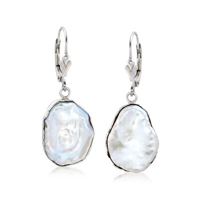 15-17mm Cultured Baroque Keshi Pearl Free-Form Drop Earrings in Sterling Silver
