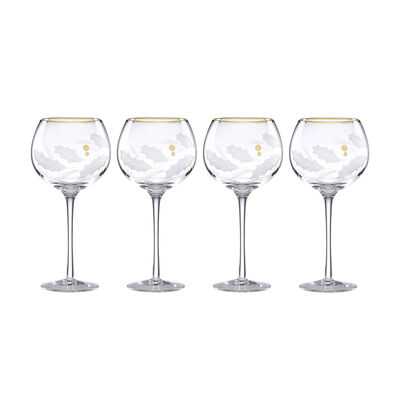 "Lenox ""Holiday"" Set of 4 Gold Balloon Glasses, , default"
