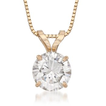 """1.00 Carat CZ Solitaire Necklace in 14kt Yellow Gold. 18"""", , default"""