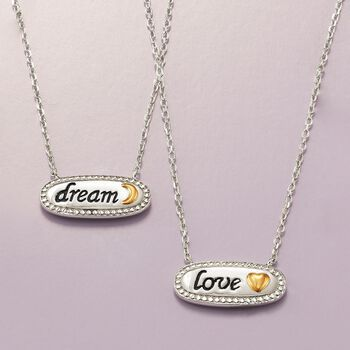 "Sterling Silver and 14kt Gold Inspirational ""Love"" Necklace. 18"""