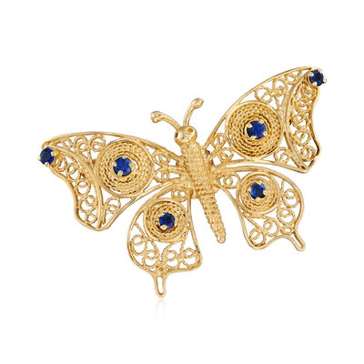 C. 1980 Vintage .40 ct. t.w. Sapphire Butterfly Pin in 14kt Yellow Gold, , default
