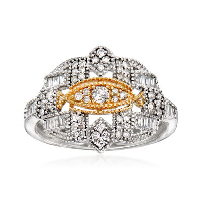 .50 ct. t.w. Diamond Vintage-Style Beaded Ring in Sterling Silver and 14kt Yellow Gold