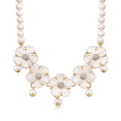 Italian Mother-Of-Pearl and 8-9mm Cultured Pearl Floral Bib Necklace in 18kt Gold Over Sterling, , default
